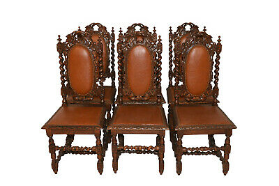 Great Set of French Hunt Dining Chairs, Barley Twist, Oak, 19th Century