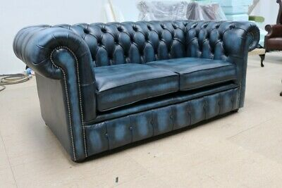 Chesterfield Tufted Buttoned 2 Seater Sofa Couch Real Vintage Blue Leather