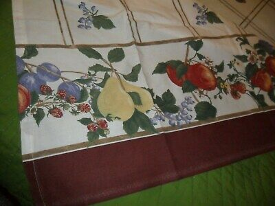 """Brown Border Vintage Cotton  'Apples-Pears-Fruits"""" Tablecloth - 58X80"""""""