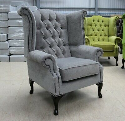 Georgian Chesterfield Queen Anne Buttoned High Back Wing Chair Grey Fabric
