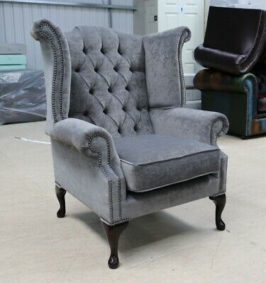 Georgian Chesterfield Queen Anne Buttoned Wing Chair Carbon Grey Fabric