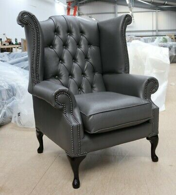 Georgian Chesterfield Queen Anne High Back Wing Chair Bonded Grey Leather