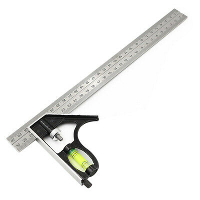 Combination Set Square 300mm 45°/90° Angle Ruler Stainless Steel Ruler D8Q7J