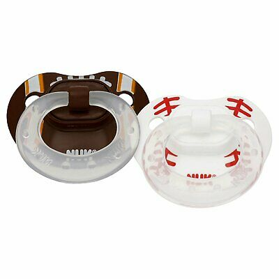 NUK Sports Classic Silicone 2-Pack Pacifier, Baseball/Football Pick your size