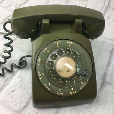 Vintage Stromberg Carlson Rotary Desk Phone Green Olive Military Collectible