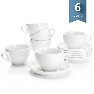 Sweese 4306 Porcelain Cappuccino Cups with Saucers - 6 Ounce for Specialty Cafe