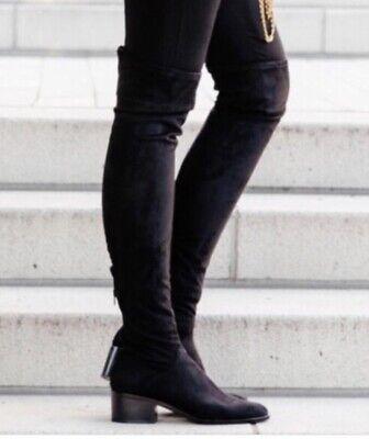 3092f0f2e88 STEVE MADDEN GABBIE Thigh High Over-Knee Boots Black Microsuede ...