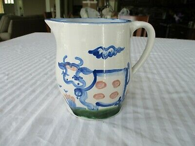 """MA Hadley Cow Pottery PITCHER MILK JUG 6.5"""" The End"""