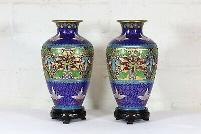 A Decorative Pair of Vintage Chinese Blue Cloisonne Vases on Stands