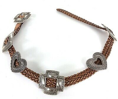 Brighton Brown Leather Silver Tone Metal Concho Western Belt Womens Size M