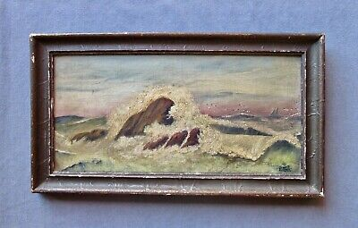 Small Antique Seascape Oil Painting, Signed, Dated 1915
