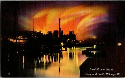 1940'S. STEEL MILLS AT NIGHT. GARY & SOUTH STS. CHICAGO, ILL POSTCARD x1