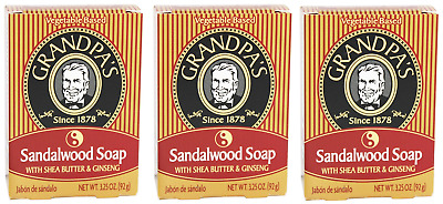 3 Pack - Grandpa's, Sandalwood Soap with Shea Butter & Ginseng, 3.25 oz (92 g)