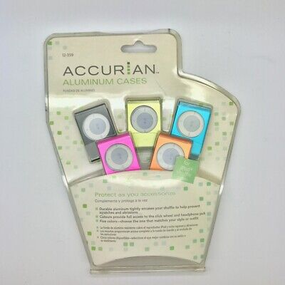 NIP Accurian Aluminum Cases for iPod Shuffle 2nd Gen 5-pack Variety Colors