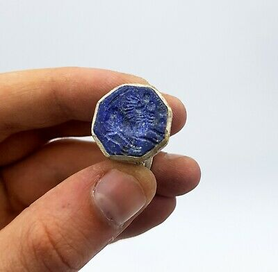 Post Medieval Ca.1700 Ad Silver Alloy Ring With Lapis Lazuli Depicting Horse
