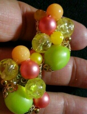 Vintage beautiful green yellow pink orange lightweight plastic bead clip earring