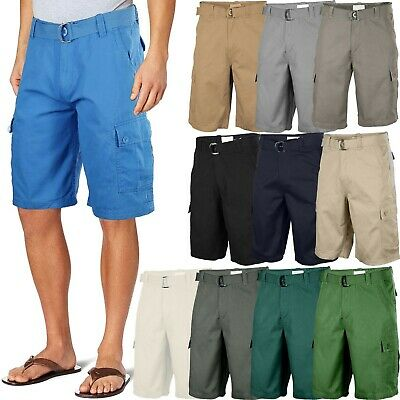 Mens Twill Cargo Shorts with Belt 30 40 Short Pants Summer Multi Pocket Vacation