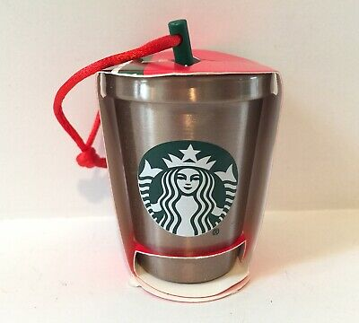 Nwt New Starbucks 2018 Stainless Steel Glitter Cold Cup Christmas Ornament Straw