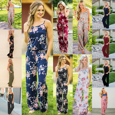 Womens Casual Backless Strap Siamese Trousers Party Jumpsuit Romper Floral Pant