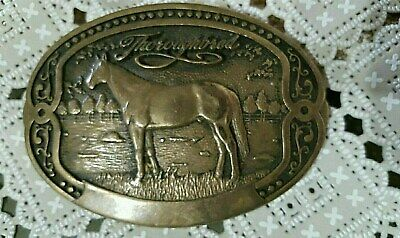 Tony Lama First Edition Collection Belt Buckle Thoroughbred Solid Brass..used