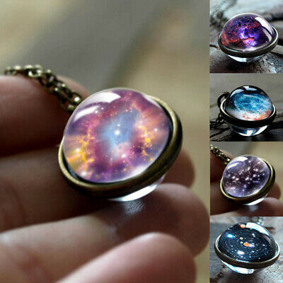 Fashion Galaxy Planet Time Gem Glass Pendant Necklace Good Gift for Women Girls