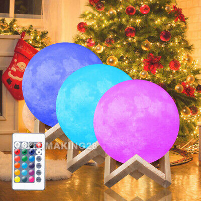 3D Moon Lamp 16 LED Colors Lunar Night Light Remote Home Decor Gift with Stand