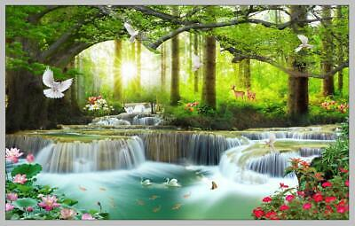 Waterfall Sunset Landscape Canvas Poster Wall Art Print Picture Framed CH1360