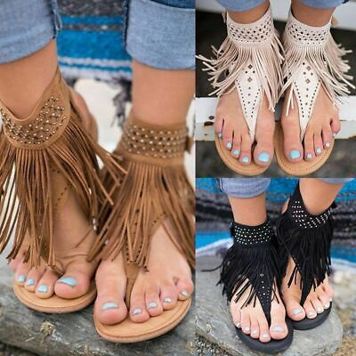 SEXY Women Gladiator Sandals Thong T Strap Tassel Flat Flip Flops Clip Toe Shoes