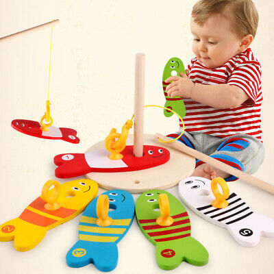 Children Fishing Toy Puzzle Wooden Early Education Colorful Interesting Kids Toy