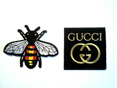 Gold Gucci Bee Fashion Patches Embroidered Cloth Badge Applique Iron Sew On Set