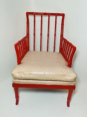 Vintage Hollywood Regency Faux Bamboo Wooden Chair Chinoiserie Chic