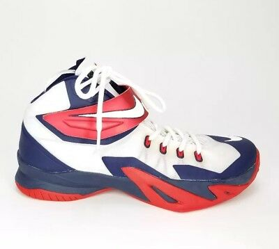 f18108eb6cc NIKE 653641-114 LEBRON James Zoom Soldier VIII Size 13 ~ USA Red ...