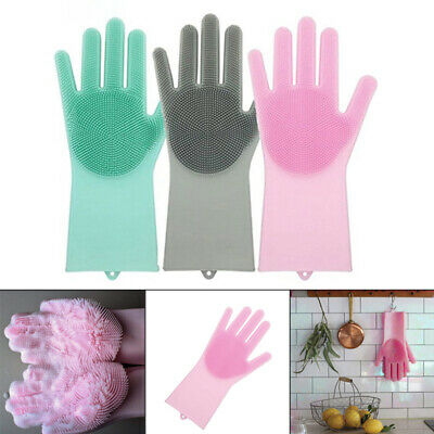 1Pc Cleaning Brush Scrubber Gloves Magic Silicone Heat Resistant Kitchen Tool
