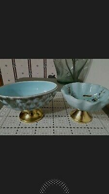 2 -Vintage French Art Ceramic Petal Bowls Unique Rare Designs