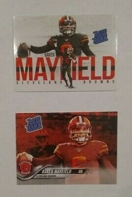 🔥  Baker Mayfield 2018 Rated Rookie Cleveland Browns 2 Card Rookie Lot