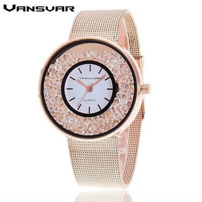 Hot Sale Fashion Stainless Steel Rose Gold & Silver Band Quartz Watch Luxury Wom