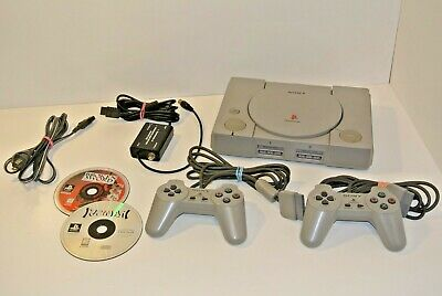 PlayStation 1 Console Bundle Games 2 Controllers PS1 SCPH-5501 RF Adapter Rayman