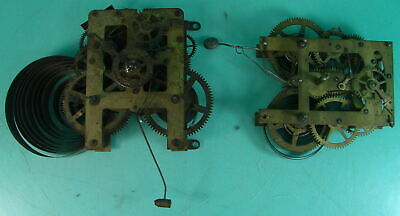 """Lot of 2 Vtg Antique Brass Clock Movements Waterbury Clock Co Made In USA 5 2/8"""""""