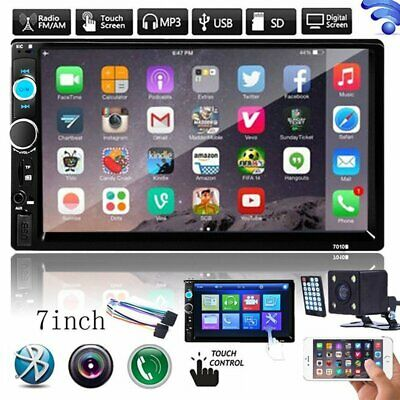 """7"""" Double 2DIN Touch Bluetooth Car Stereo Radio HD MP5 PlayerUSB/TF+Rear Camera"""
