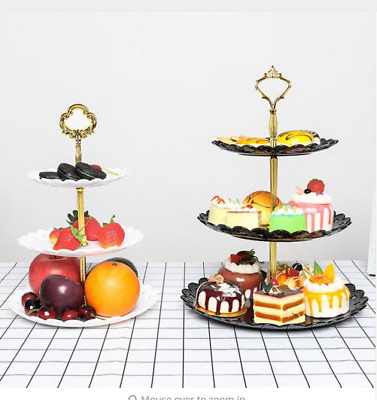 3 Tier Cake Stand Afternoon Tea Wedding Plates Party Embossed Table Decorations
