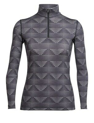 Icebreaker Oasis Longsleeve Half Zip Diamond Line Baselayer Shirt blizzard