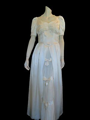 Original Vintage 1940s Satin Wedding Dress With Ruched Bodice and Bow Trim