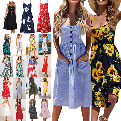 US Womens Summer Vacation Beach Dress Button Ladies Long Sundress with Pockets