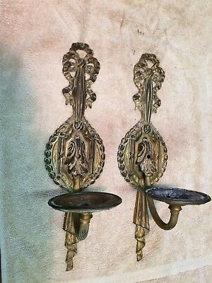 Pair Of Signed Antique Vintage French Brass Wall Sconces Light Fixtures