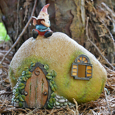 Vintage Resin Garden Lawn Patio Solar Powered Fairy Gnome House Statue Ornament