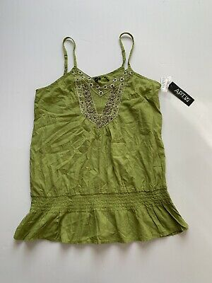APT. 9 sz Small Vintage Floral Pattern Art Deco Green Tank Top Cami