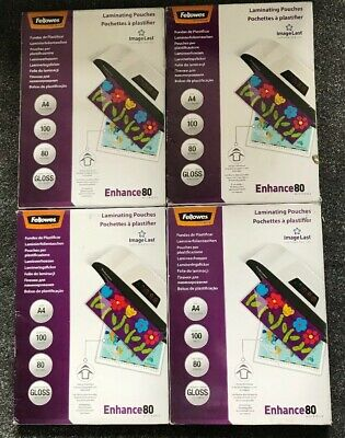 Fellowes ImageLast A4 Laminating Pouch, 80 Micron - 4x Packs of 100,Transparent