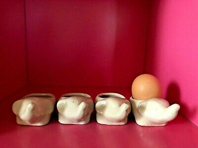 4 Cute White Elephant Egg Cups, Free Postage