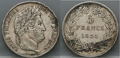 1834 Frankrijk - France - 5 Francs 1834 A -  LOUIS PHILIPPE I° - KM# 749.1