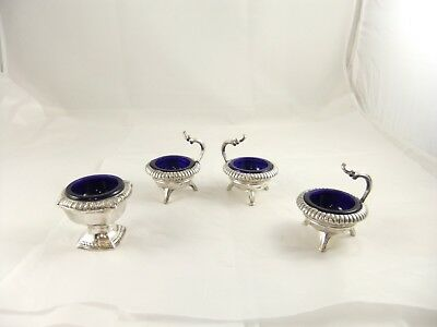 Weidlich Brothers W.B. MFG CO Silver Plated Salt Cellars Blue Glass Inserts